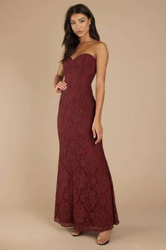 9dca0851d0 Adelyn Wine Strapless Maxi Dress Strapless Formal Dress