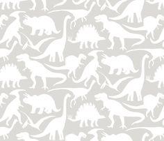 big dinos - white grey fabric by jillbyers on Spoonflower - custom fabric
