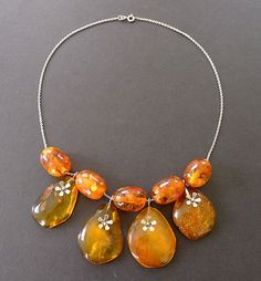 Baltic Amber Bead Sterling Silver Necklace, Tiny Sterling Flower Dangles Art Deco