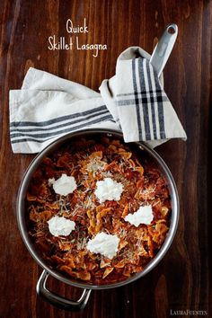 This quick Skillet Lasagna is an easy 30 minute weeknight meal!