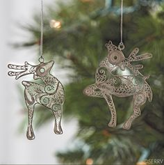 Dasher and Dancer? Prancer and Vixen? Whatever you choose to call them, these incredibly detailed filigree ornaments made of silver-plated copper are sure to lend beauty to your tree. Set of each approx 3 h x 2 w Reindeer Ornaments, Christmas Ornaments, Holiday Gifts, Holiday Decor, Green Gifts, Gift Certificates, How To Make Ornaments, Gift Baskets, Vixen