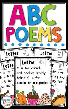 Alphabet Poems & This set of 26 ABC Poems are perfect for the kindergarten classroom. Reading poetry is a powerful way to engage beginning readers. These printables help kids practice fluency through shared reading during reader& workshop. Preschool Curriculum, Preschool Lessons, Teaching Kindergarten, Preschool Learning, Kindergarten Classroom, Preschool Activities, Kindergarten Reading Log, Kindergarten Literacy Centers, Preschool Poems