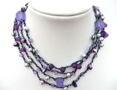 Purples, a long crochet wrap, Necklace or Bracelet  £14.50