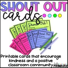 Shout Out Cards by Hello Primary Kindness Activities, Counseling Activities, School Counseling, First Day Of School Activities, School Fun, Middle School, School Stuff, School Ideas, Accelerated Christian Education