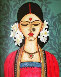 beautiful paintings painting artists indian woman most from most beautiful indian paintings from top indian artists indian painting wom Madhubani Art, Madhubani Painting, Indian Folk Art, Indian Artist, Cherokee Indian Art, Native Indian, Native Art, Art And Illustration, Cat Illustrations