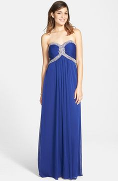 Women's Xscape Beaded Jersey Strapless Gown,/ Nordstrom