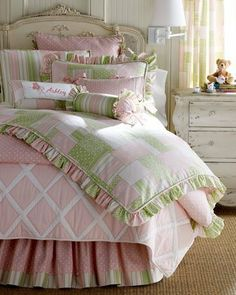 California Kids Olivia Full Comforter by california kids. $220.99. Shabby Chic Move Over! The Pink & Green Madeline Rose Bedding Collection features a patchwork of green and pink with stripes and dainty roses. Perfect for any girls floral themed bedroom.