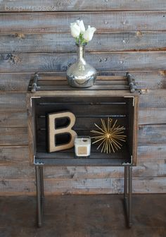 DIY Crate & Pipe Industrial End Table/ Nightstand #recycled #decor