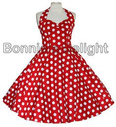 Red halter dress with white polka dots. No petti included. About $78 (49.99 GBP) plus 16 shipping (10.50 GBP).