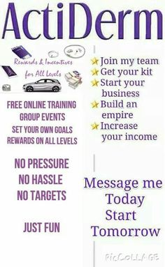 Become an ActiDerm Ambassador with all of these benefits! Joining fee from £20 - Kits from £50. http://www.actiderm.co.uk/me/angela-jones