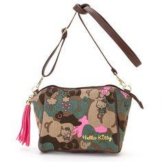 Hello Kitty Canvas Mini Shoulder Bag Ribbon Camouflage SANRIO JAPAN