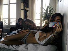 tattoos, stiletto nails, stripes