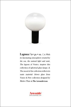‪#‎Laguna‬, one of the ‪#‎GlassCollection‬ table lamp. Unique... ‪#‎design‬ Matteo Thun ‪#‎ArtemideDictionary‬