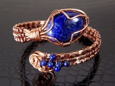 Lapis Lazuli Bracelet Copper Wire Bracelet Womens Adjustable