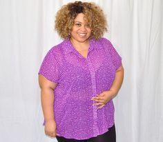 Torrid Purple and White Chiffon Button Blouse 4x Plus Size #Torrid #Blouse
