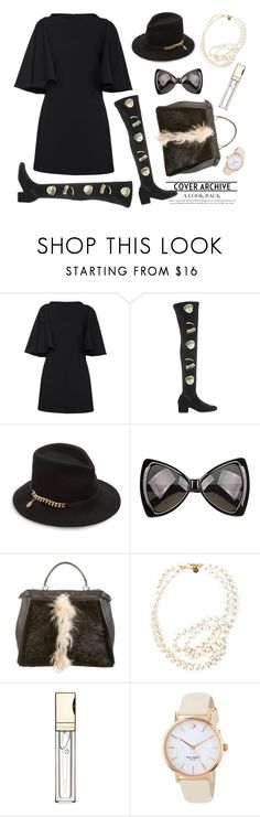 """""""Mini dress with wings sleeves"""" by thestyleartisan ❤ liked on Polyvore featuring Plein Sud, Chiara Ferragni, STELLA McCARTNEY, Fendi, Clarins, Kate Spade and OverTheKneeBoots"""