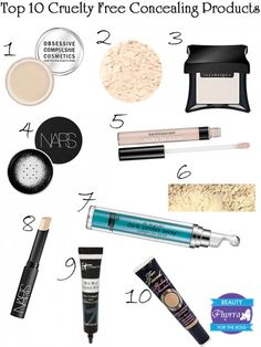 Top 10 Cruelty Free Concealing Products, plus a tutorial! #illamasqua #nars #meowcosmetics #silknaturals #itcosmetics #occmakeup #obsessivecompulsivecosmetics #graftobian #toofaced