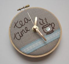 Embroidered clock! Tea Time Mini Wall Clock by themasonbee on Etsy