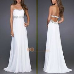 65.90 Cheap White Backless Beads Long Chiffon Formal Evening Gowns Prom Dresses 2013 | eBay