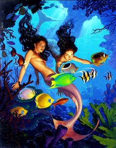 Mermaids, in Rick Ayers's Illustration Art - Paintings Comic Art Gallery Room Fantasy Mermaids, Mermaids And Mermen, Fantasy Creatures, Sea Creatures, Mermaid Wallpapers, Mermaid Pictures, Water Nymphs, Mermaid Art, Ariel Mermaid