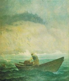Lobsterman by N.C. Wyeth, 1938.  I love the simplicity and the colors.