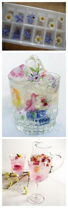 Neat for a ladies tea party or bridal shower. You'll wow everyone with these flower-filled ice cubes!