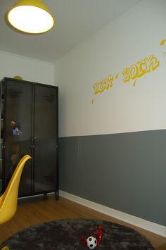 chambre grise et jaune, chambre garçon, chambre esprit industriel, sticker, sticker chambre, chambre Nanelle, sticker New-york, chambre New-York