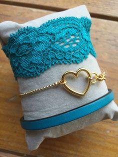 Felblauw/goud hart