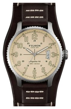 Filson 'The Mackinaw Field' Leather Strap Watch, 43mm available at #Nordstrom