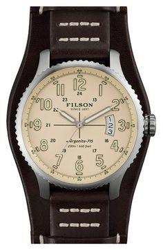 Men's Filson 'The Mackinaw Field' Leather Strap Watch