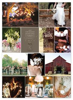Collage of photos with country romance/rustic wedding theme.  Includes white lights, mason jars, cowboy boots, barn, white fence.  #celebrate  #party  #event