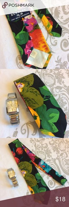 [VINTAGE] FLORAL TIE Beautiful large floral print tie in excellent vintage condition.  Amazing bright hues of red, orange, green, and yellow on a black background. 100% cotton ♻️Wear this tie with jeans or a suit, feeling awesome that you gave this awesome tie new life.  All the ties in my closet are from my vintage collection which I have been amassing for many years. Hope you love it!  =Purchase includes a gift. Berkley Accessories Ties