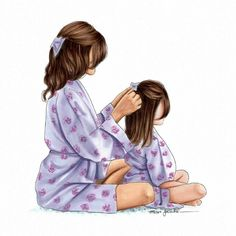 The times mum used to do my hair.wish she still . - - The times mum used to do my hair…wish she still … – The Ef - Mother And Daughter Drawing, Mother Daughter Quotes, Mother Art, Mom Daughter, Mom Drawing, Cartoon Girl Drawing, Sisters Drawing, Mothers Day Drawings, Glam Look