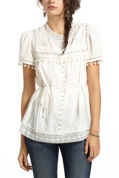 Glinted Peasant Blouse $128.00