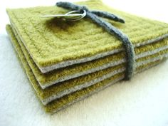 Coasters CHARTREUSE & GREY Upcycled Mug Rugs Felted Wool Coasters Green Coasters by WormeWoole