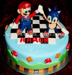 Best of friends...Sonic and Mario  Cake by Stef and Carla (Simple Wish Cakes)