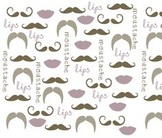 Mustache and Lips fabric by pencreations on Spoonflower - custom fabric Napkins???