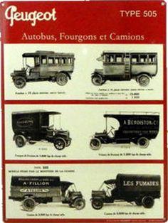 Peugeot - Autobus Fourgons Camions : Plaque décorative rétro en métal représentant les autobus, fourgons et camions Peugeot. Idéal pour créer une déco dans l'ambiance vintagemécanique dans un garage, une concession automobile ou un atelier de réparation.
