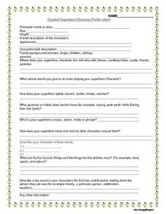 Super Hero Profile Sheet and Dialogue Writing Activity. Create a superhero! Superheros like Spiderman are cool! This worksheet walks students throu...