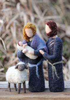 Adorable Felted Nativity Set Mary Joseph Jesus by $105.00