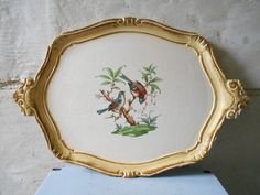 Rare Florentine tray with romantic birds decor, large vintage tray, French Renaissance style, decorative wooden tray, cottage chic.