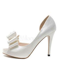 Elegant Cut Out Bow Spike Heel Peep Toe Silk And Satin Bridal Shoes - Milanoo.com
