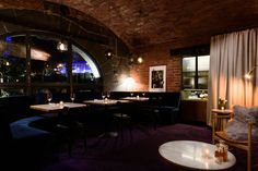 SETSQUARE STUDIO have combined luxurious textures, colour and curves to create an intimate bar beneath the historic vaults of Melbourne's Federation Square. Blown Glass Pendant Light, Speakeasy Bar, Basalt Stone, Plush Carpet, Banquette Seating, Tiny Spaces, Cafe Bar, Pilgrim, Melbourne