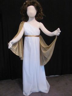 Greek Goddess or Medusa costume for a child.  The gold wrap layer is detachable and can be draped in many different way to allow the child to personalize the costume.  Custom sewn by Irishandmore.etsy.com