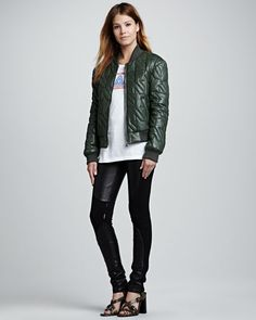 Rebecca Minkoff - Nova Quilted Leather Jacket, Galactic Graphic Cotton Tee & Telescope Lambskin & Ponte Knit Pants