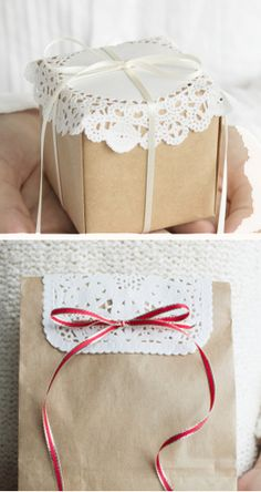 doily gift wrapping