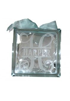 Personalised Glass Block filled with fairy lights. Wonderful whimsical decor for a nursery. Glass Blocks, Fairy Lights, Cricut Ideas, Nursery Ideas, Whimsical, Christmas, Baby, Products, Decor