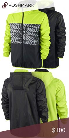 "Nike Winger Reversible Jacket in Black & Volt Nike Winger Reversible Jacket in Black & Volt. Size medium; 22"" width, 26.5"" length (longer in back). 100% polyester. One side of men´s jackets Nike WINGER JKT LOI REVERSIBLE is made of ripstop material with a ""crosswind"" print in the middle to create a colour-block effect. Reverse side provides mesh style that lets the neon of other side to glow through. Vertical left chest pocket for added style and convenience. Double-sided design gives you a…"