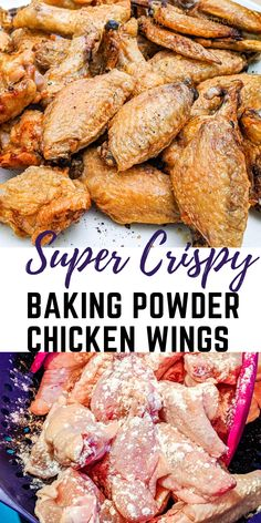 Chicken Thigh Recipes Oven, Baked Chicken Recipes, Healthy Chicken, Baking Powder Chicken Wings, All You Need Is, Crispy Baked Chicken Wings, Oven Baked Wings, Keto Chicken Wings, Cooking Chicken Wings
