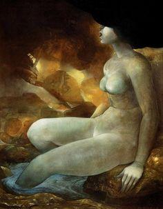 Rafa Fernández.  La bañista, óleo sobre lino, años 90